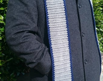 Mens Striped Crochet Scarf