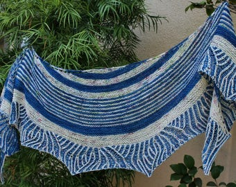 Royal Blue and Off White Panoply Brioche Hand Knit Pure Merino Wool Shawl