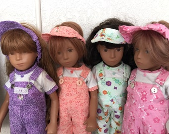 Choice of Spring Overalls Set to fit Sasha Doll: Purple, Coral, Mint, or Pink