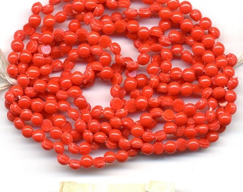 Vintage Opaque Red Nailhead Beads, 1920s Czech, 4mm Full Hank of 288-300 Pcs. DESTASH