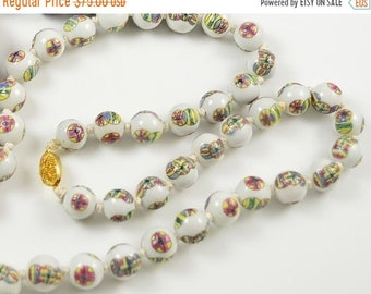 SALE Clearnce SALE Old Chinese Hand Painted White Porcelain Vintage Necklace