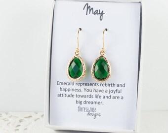 May Birthstone Gold Teardrop Earrings, Emerald Gold Dangle Earrings, May Birthstone Emerald Gold Framed Earrings, Bridesmaid Earrings