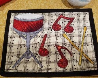 Snare Drum Music Lover's Mug Rug Coaster Mini Quilt