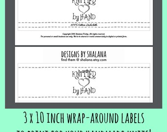Printable PDF KNIT Wrapper Style Labels - Knitted by Hand with a Heart for Handmade Wash Cloths or Knitted Crafts