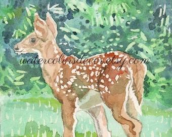 Baby Deer Watercolor Print. Watercolor fawn. Country decor. Deer wall art. Deer picture. Watercolor animal. Brown green white. Deer artwork.