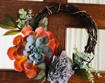 Succulent and charming! No maintenance wreath!