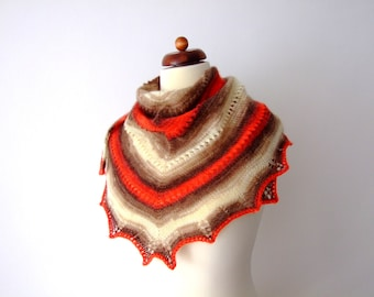 knit triangle scarf, red brown cream shawl, winter scarf, prayer shawl