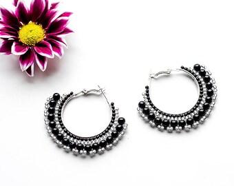 Gemstone Earrings Circle Earrings Bohemian Earrings Black Hoop Earrings Silver Earrings Black Agate Earrings Handmade Beaded Earrings