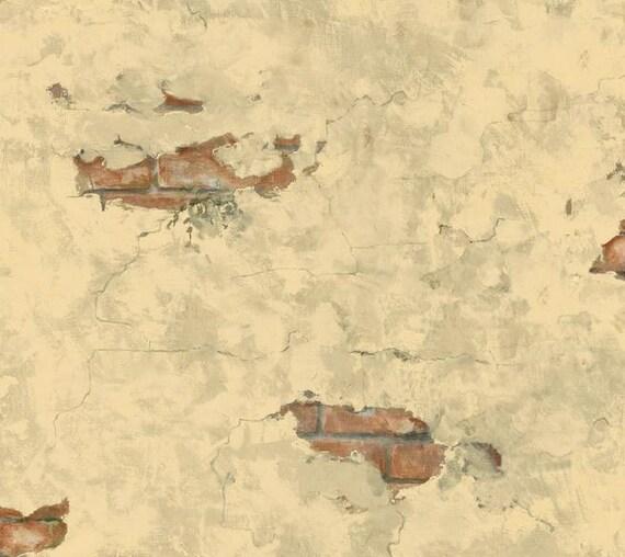 Distressed plaster exposed brick wallpaper paris cafe