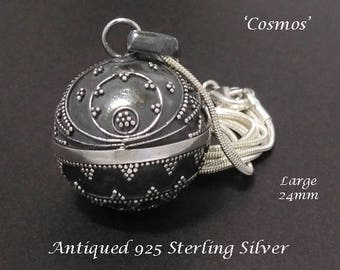 Large 24mm Harmony Ball, 'Cosmos in the Night Sky' Antique Sterling Silver Finish  | Bola Necklace, Angel Caller, Gifts, Pregnancy Gift 842