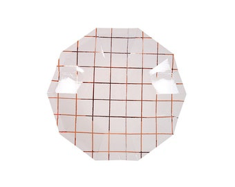 Rose Gold Grid Paper Plates, Small, Tableware, Party Supplies, Meri Meri