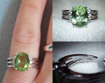Green Amethyst Silver Ring, size 6