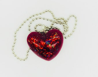 Fire Red heart shaped 3D pendant with a chain necklace
