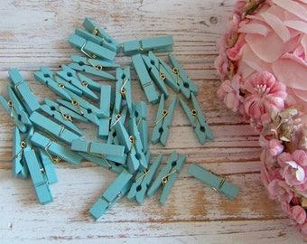 Set of 29 Blue Mini Clothespins, Clothespin Set, Clothespins, Blue Clothespins, Shabby and Chic Clothespins, Mini Clothespins