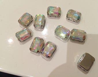 Rhinestone sertisse 10 * 14 has sew silver Crystal AB
