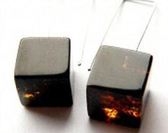 Earrings,  Amber earrings, Cube, black, modern, polished Stone, Silver 925, NEW, UNIQUE- Handmade