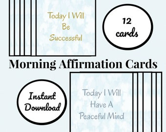 Printable Morning Affirmation Cards, Positive Affirmation Cards, Positive Messages, Digital Cards, Daily Affirmations, Affirmation Card Set