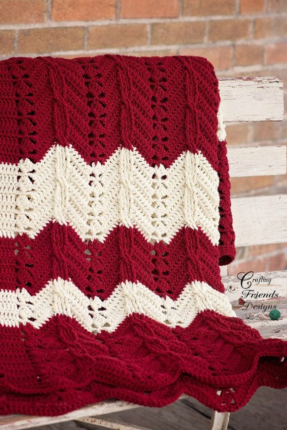 Crochet Pattern Classic Cable Chevron Afghan Textured