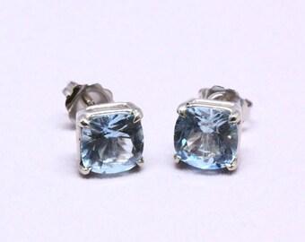 Big Aquamarine and 14K White Gold Stud Earrings