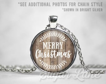 Christmas Necklace - Merry Christmas Necklace - Rustic Holidays - Glass Dome Necklace - Christmas Pendant - Holiday Jewelry