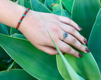 Red jasper and turquoise healing bracelet