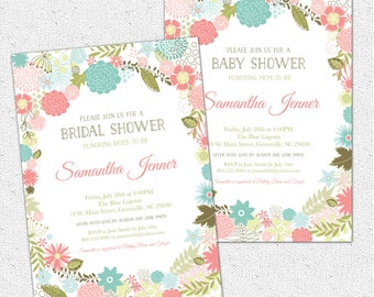 Retro Modern Flowers Bridal Baby Shower Invitation, Floral, Garden, Shabby Chic, Rustic, Printable DIY Digital File