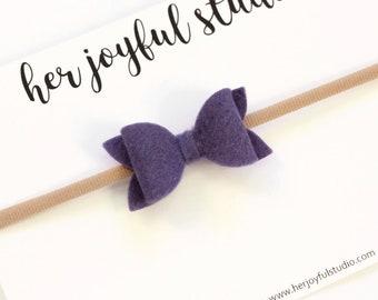 Baby Headband Bows, Felt Bows, Felt Baby Bows, Baby Headband, Baby bow Headband, Baby Girl Bow Headband, Purple Bow, Purple Baby Bow, Violet