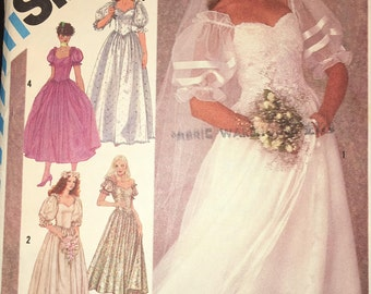 Simplicity 6241 Bridal Gown or Bridesmaids' Dress 1983