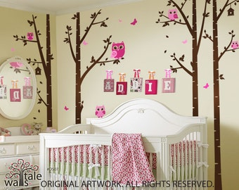 Birch Tree with Owls and Butterflies  - large nursery wall decal (wall sticker) for girls and boys