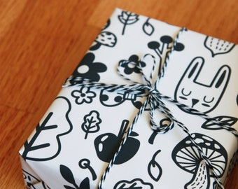 3 colors printable gift wrapping paper with cute illustrations / super cut rabbit wrapping paper / instant download /nordic illustration