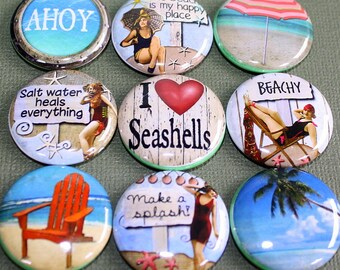 Beach Life Magnets - One Inch
