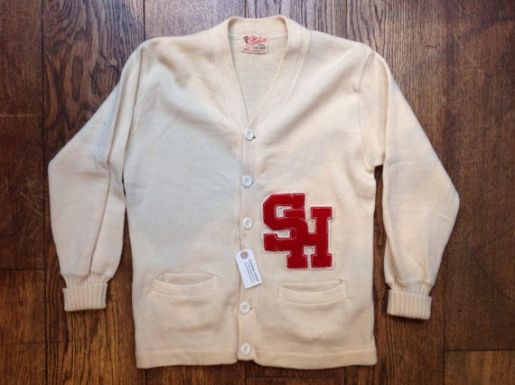 """Vintage 1960s 60s white wool Stadium varsity college Letterman sweater cardigan Ivy League style mod chenille patch rockabilly 40"""" chest"""