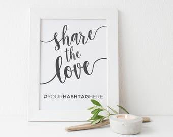 Wedding Instagram Sign   Instagram Hashtag Sign   Wedding Hashtag Sign   Hashtag Sign   Share the Love