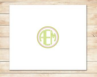 Pink and Green Monogram Card - Monogram Stationery, Stationary