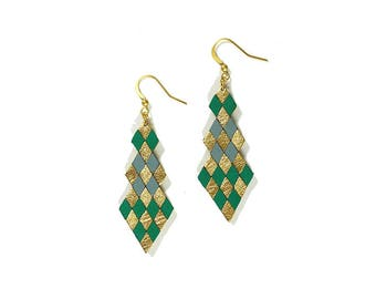 green, blue grey and gold diamond shaped leather earrings