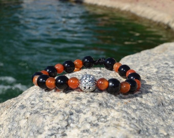 stone bracelet, black jasper, fire agate,silver plated