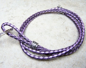 Purple Lanyard, Id Lanyard, Braided Leather, Badge Clip, Id Accessorie, Eyeglass Lanyard, 28-38 Inchs, ID/Badge Holder, 3mm, Leather Lanyard