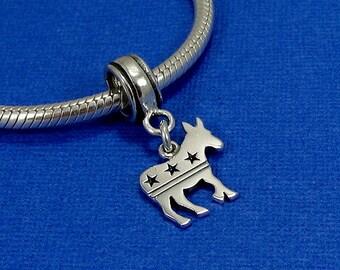 Democrat Donkey European Dangle Bead Charm - Sterling Silver Democrat Donkey Charm for European Bracelet