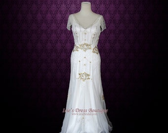 Boho Wedding Dress | Vintage Inspired Wedding Dress | Glamorous 1920's Wedding Dress | Hippie Wedding Dress | Unique Wedding Dress | Anabel