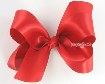 """Red Hair Bow, Satin Hair Bow 4"""", Red Satin Hair Bow, Girls Hair Bow, Big Hair Bow, Christmas Hair Bow, Holiday Bows, Boutique Bow S4-red"""
