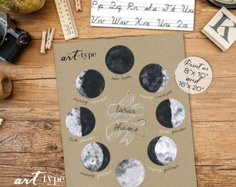 Moon Phases Print Poster INSTANT DOWNLOAD 8x10, 16x20 DIY Printable, Lunar Phases, Moon Chart, Lunar Cycle, Homeschool Print, Kraft Paper
