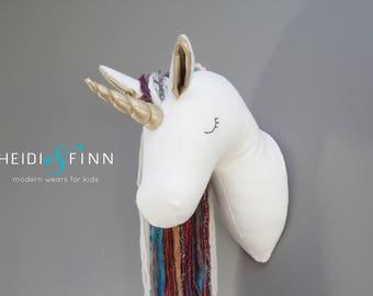 SALE Unicorn Faux Taxidermy wall decor white rainbow horse head room nursery gold pony art
