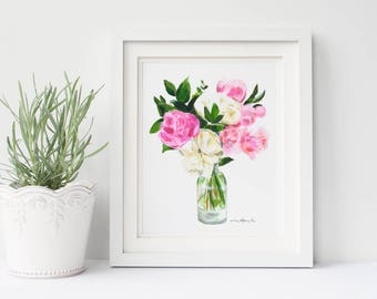Peony bouquet print | peony painting | peony print | flowers in vase | flower bouquet painting | flowers in vase painting | gifts for her