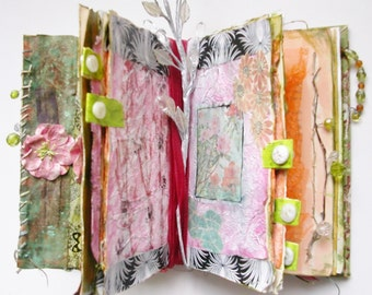 Flower Themed Altered Art Book, Handmade Garden Journal, Mixed Media Art Books