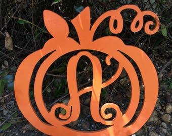 Pumpkin Door Hanger - Wooden Pumpkin Monogram - Fall Door Hanger - Fall Decor - Pumpkin Decor - Pumpkin Initial Door Hanger