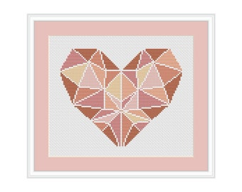 Cross Stitch Pattern Geometric heart DMC Cross Stitch Chart Needlepoint Pattern Embroidery Chart Printable PDF Instant Download