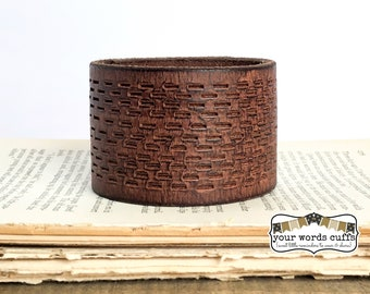 your words cuffs - custom hand stamped leather belt bracelet - personalized with your words - brown tooled - leather cuff