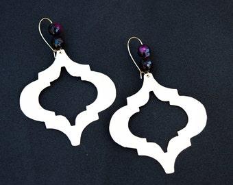 Brass earrings, Statement earrings , Boho earrings, Gold tone earrings, Large statement earrings, Gold earrings, Morocco earrings, Handmade