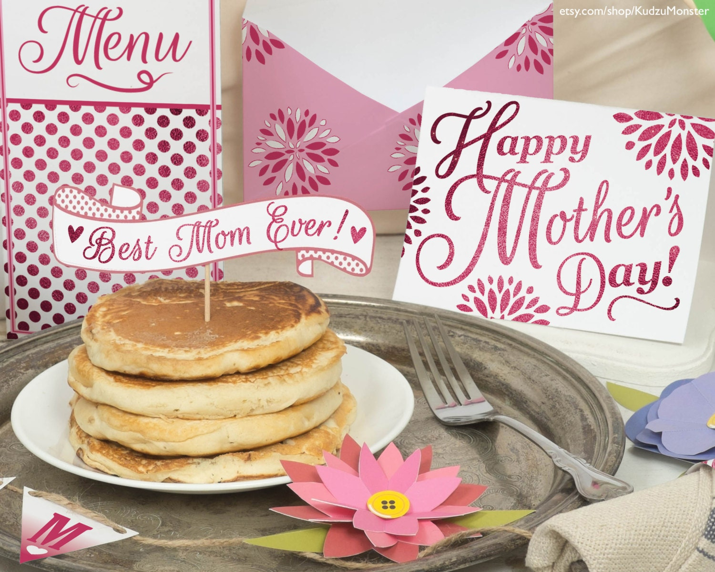 mother 39 s day breakfast in bed printable diy kit card. Black Bedroom Furniture Sets. Home Design Ideas