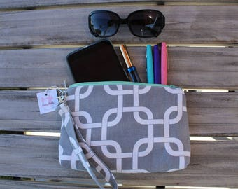Square Bottom Grey and Mint Wristlet